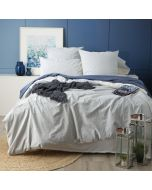 Renee Taylor Portifino Yarn Dyed vintage washed cotton quilt cover Set Queen Blue