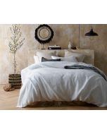 Vintage Design White 100% Hemp Quilt Cover Set- King Bed