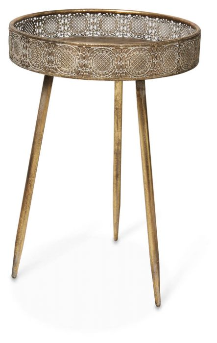 Fantastic Filigree Metal Tray Table Knock Down Small Gold Home Remodeling Inspirations Cosmcuboardxyz