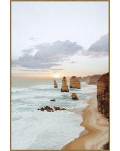 Twelve Apostles Tempered Glass Print - Oak Frame
