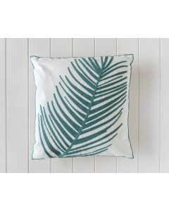 Indoor Cushion - Teal Fan Palm Embroidered - 45x45
