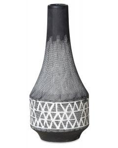 Criss Cross Ceramic Vase Medium - Dark Grey