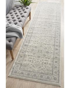 Silver Flower Transitional Rug 500x80cm