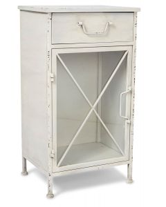 Metal Bedside Table with SIngle Drawer and 1 Glass Door and Metal Internal Shelves - Antique White
