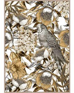 Parrot Gold Floral Wall Art - 100x140cm