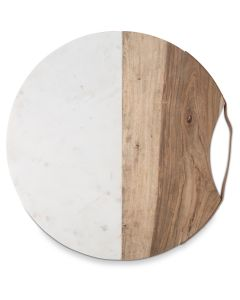 Luxe Wood and Marble Round 40cm Cheese Board with Leather Handle