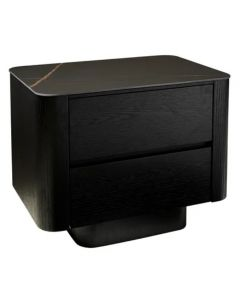 Clio Black Bedside-Black Marble Ceramic
